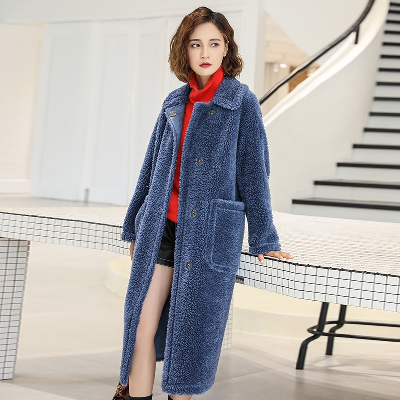 2019 New Women Wool Coat High Street Solid Color Covered Button Turn-down Collar Long Female Outwear Coats With Pocket