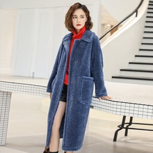 2019 New Women Wool Coat High Street Solid Color Covered Button Turn-down Collar
