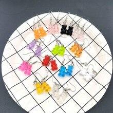 Feito à mão 13 cores bonito judy dos desenhos animados urso corrente brincos doce cor pingente adequado para mulheres e menina diário jóias festa presente