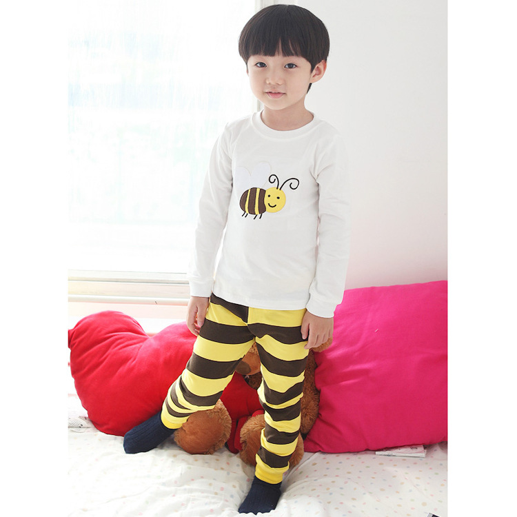 Cross Border Korean-style Small Bee Tracksuit Fashion BOY'S Girls Children Leisure Pajamas Pure Cotton Underwear CHILDREN'S Suit