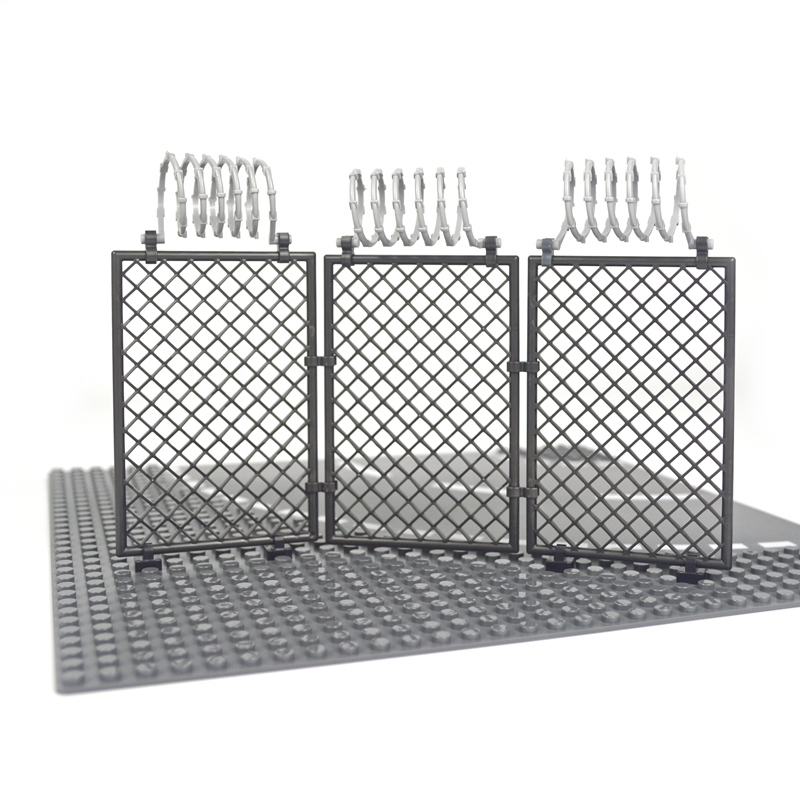 Military Building Block Base Barbed wire City military Scene Accessory Fence Isolation net 30104 92338 chain MOC Parts Brick