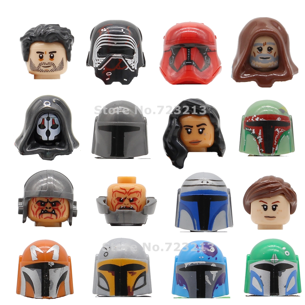 Single Star Wars Rey Figure Head Jannah Boba Fett Face Luke Jango Fett Mandalorian Phasma Building Blocks Bricks Toys G0102