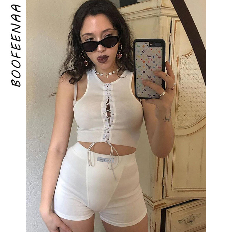 BOOFEENAA Black White Ribbed High Waist Booty Shorts For Women Clothing Summer 2020 Streetwear Womans Sexy Summer Panties C87I01