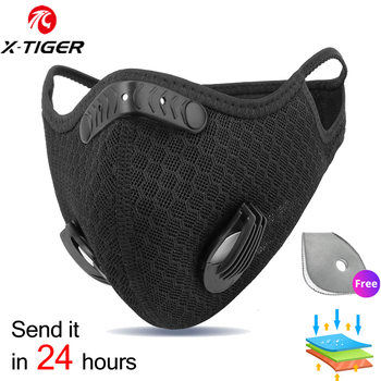 X-TIGER Cycling Face Mask PM 2.5 Bike Mask Activated Carbon Breathing Valve Sports Masks With Anti-Pollution Filter