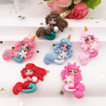 Hand Painted Resin Kawaii Colorful Big Mermaid Flatback Cabochon Stone 6PCS Scrapbook DIY Decor Home Figurine Crafts 1