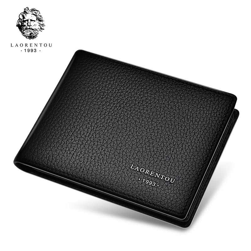 Laorentou Echtes Leder männer Brieftaschen führerschein Halter Vintage Casual Leder Geldbörse Karte Fall Schlanke Brieftasche für Männer
