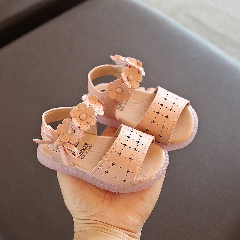 Toddler Girl Leather Sandals Pink Beige Baby Girl Shoes For 1 Year Old Breathable Summer Cut-outs Little Girl Shoe Floral D02081