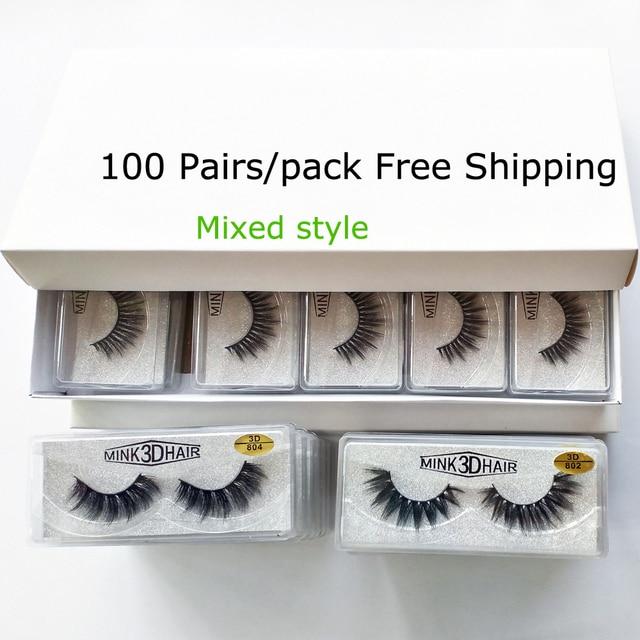Wholesale Eyelashes 20/30/50/100 Pairs 3D Mink Lashes Natural False Eyelashes Hand Made Makeup Eye Lashes 3D Mink Eyelashes Bulk 1
