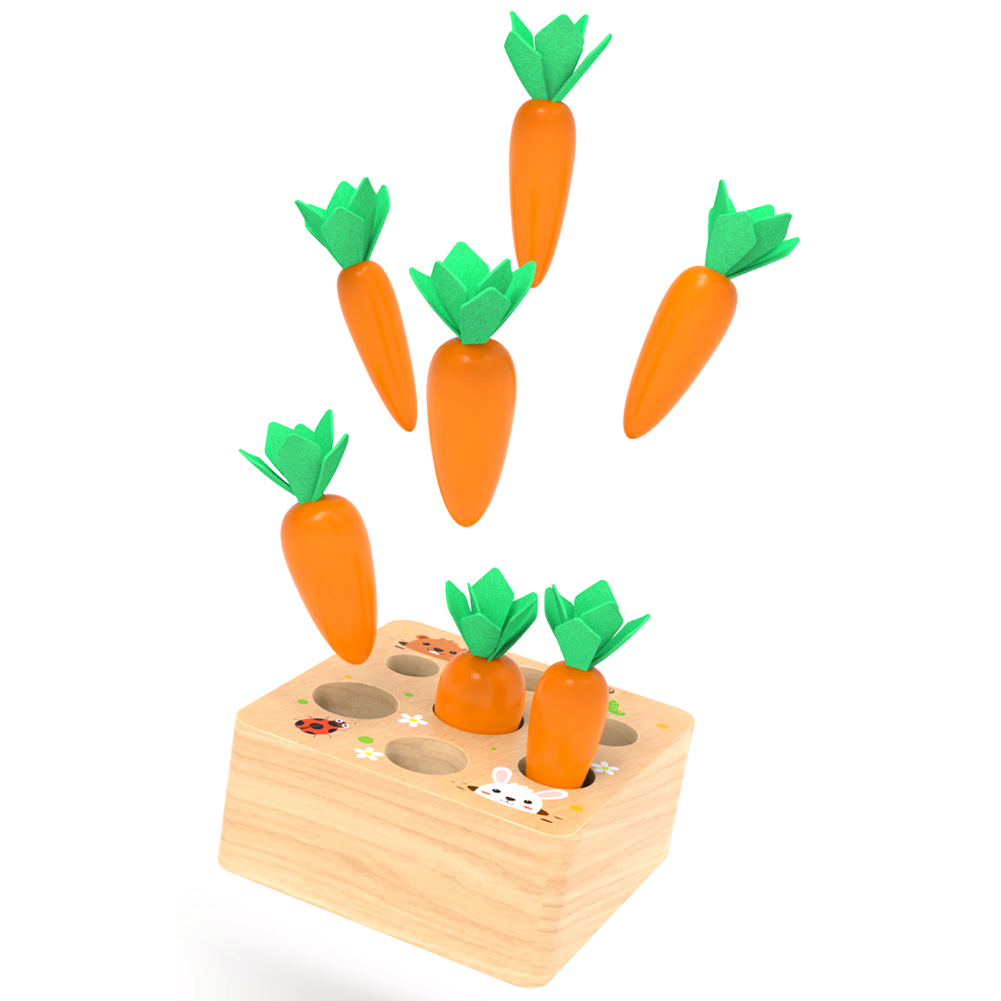 Wooden Block Pulling Carrot Game Kids Montessori Toy Block Set Cognition Ability Alpinia Toy Interactive