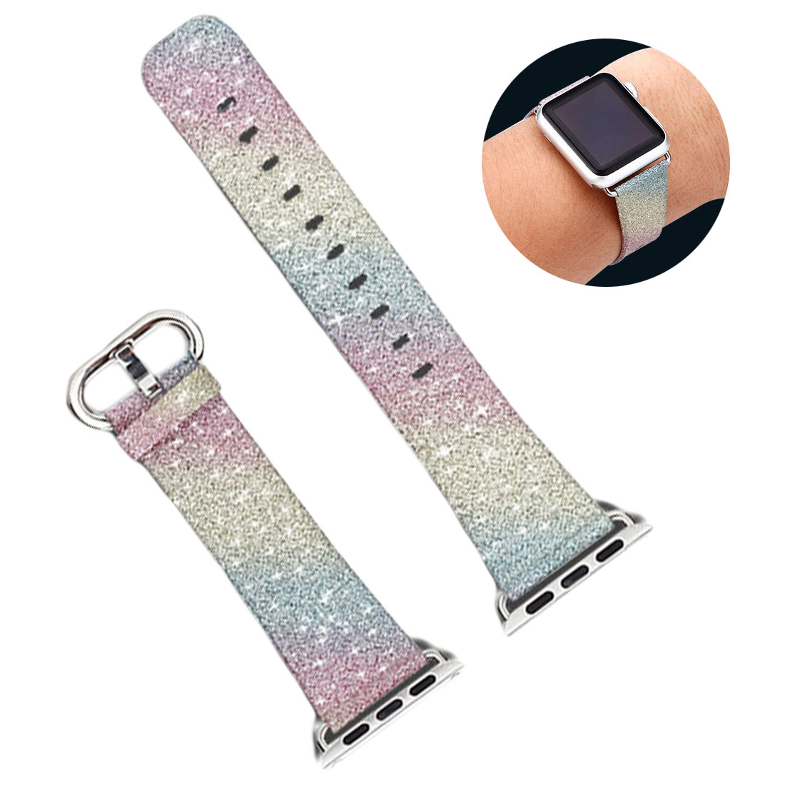Rainbow Bling Glitter Leather Band For Apple Watch Series 1 2 3 4 5 Strap 42mm 38mm Bracelet For IWatch Wristband