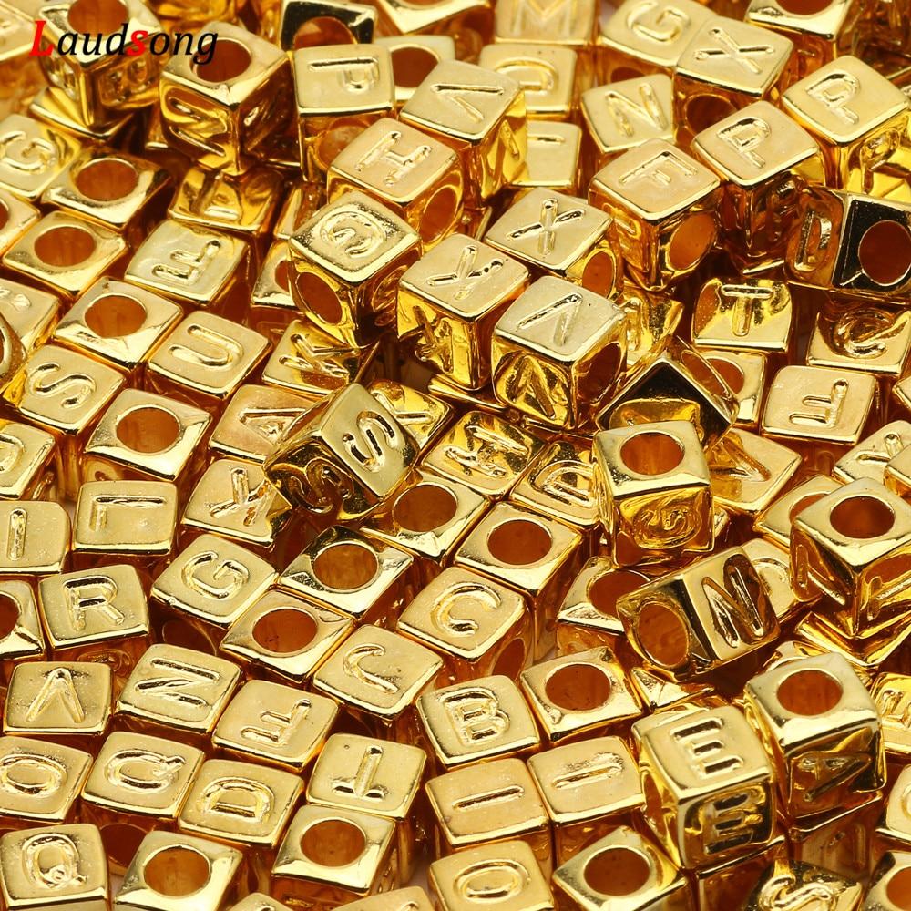 Altın karışık mektubu akrilik boncuk 6x6mm kare gevşek alfabe boncuk takı yapımı için el yapımı Diy bilezik kolye aksesuarları