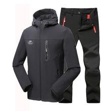 Man Winter Waterproof Fishing Skiing Hiking Trekking Camping Men Warm Softshell Fleece Outdoor Jacket Suit Pants 5XL Plus size стоимость