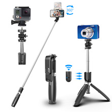 Evrensel Bluetooth Selfie sopa Tripod akıllı cep telefonları için Gopro spor eylem Video kameralar Selfie deklanşör 100cm Monopod