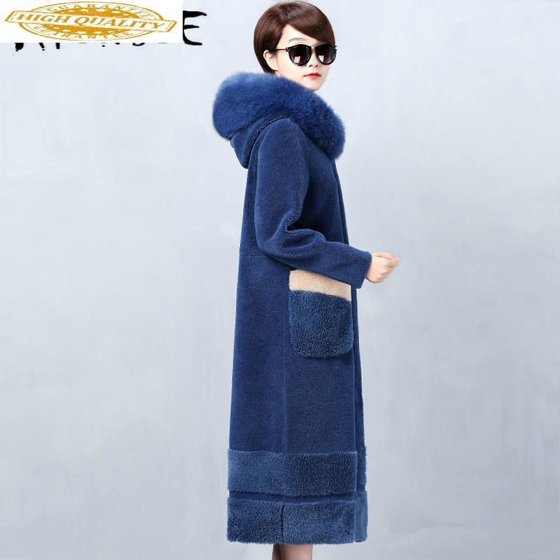 Real Fur Coat Women Sheep Shearing Winter Coat Women Korean Fox Fur Collar Jacket Women Abrigo Mujer NKK19809 YY1431