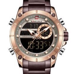 NAVIFORCE mężczyźni oglądać podwójny wyświetlacz męskie zegarki sportowe męskie zegarki Top marka wodoodporny zegarek ze stali Relogio Masculino 2020 w Zegarki kwarcowe od Zegarki na