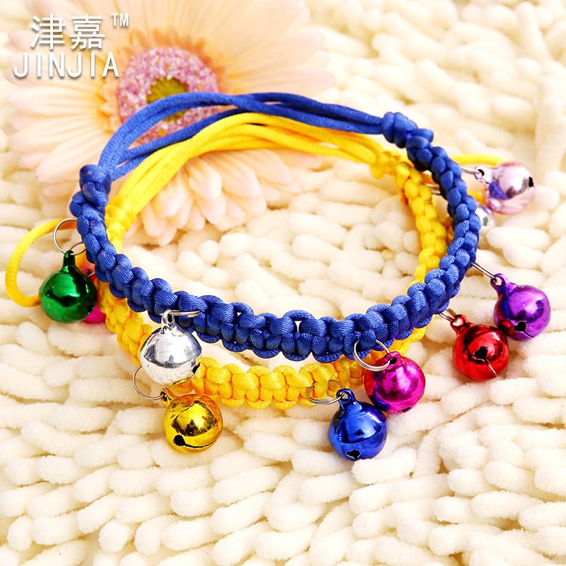 Tianjin Jia Pet Supplies Pet Bell Neck Ring Colorful Dog Necklace Ornament Pet Weaving Neck Ring Copper