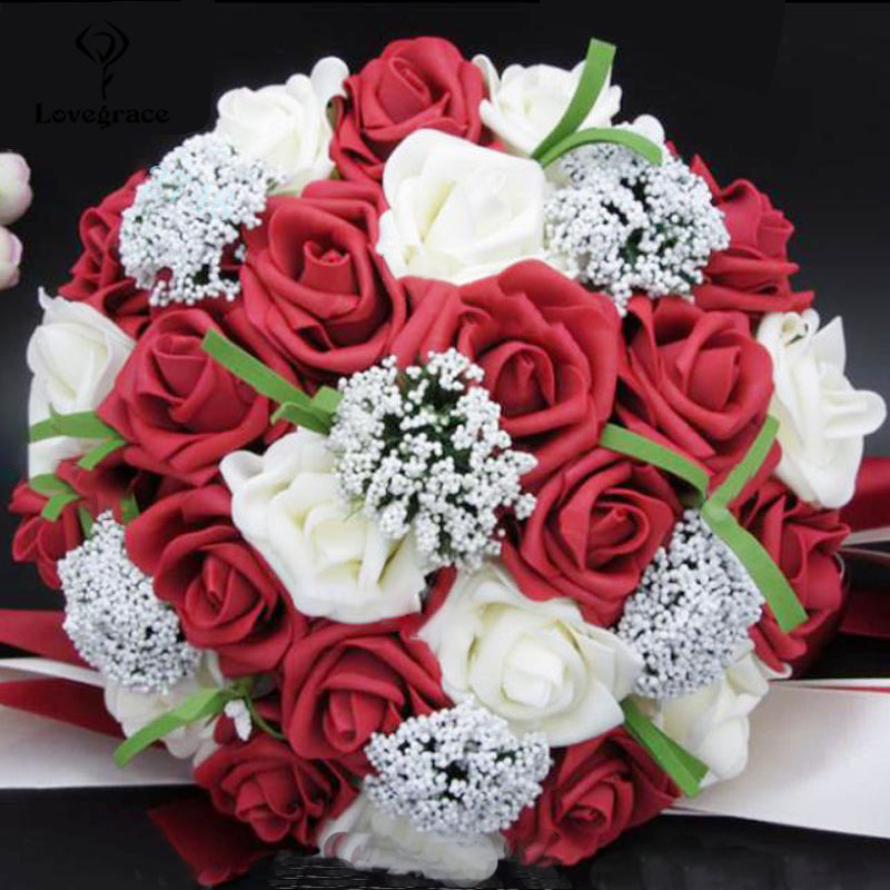 Lovegrace Bride Wedding Flower Bouquet Artificial PE Rose Fake Flower Handmade Holding Flowers Romantic Mariage Colorful Bouquet