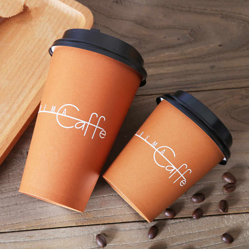 50pcs Thick Paper Milk Tea Packaging Cups Disposable Coffee Cup Coffee Pattern Party Favor Beverage Cup Takeaway Packages