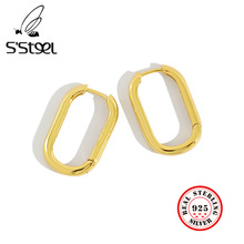 925 Sterling Silver Hoop Earrings For Women Gold Ellipse Aretes Boucle D'oreille Femme 2019 Minimalist Korean Brincos Jewelry