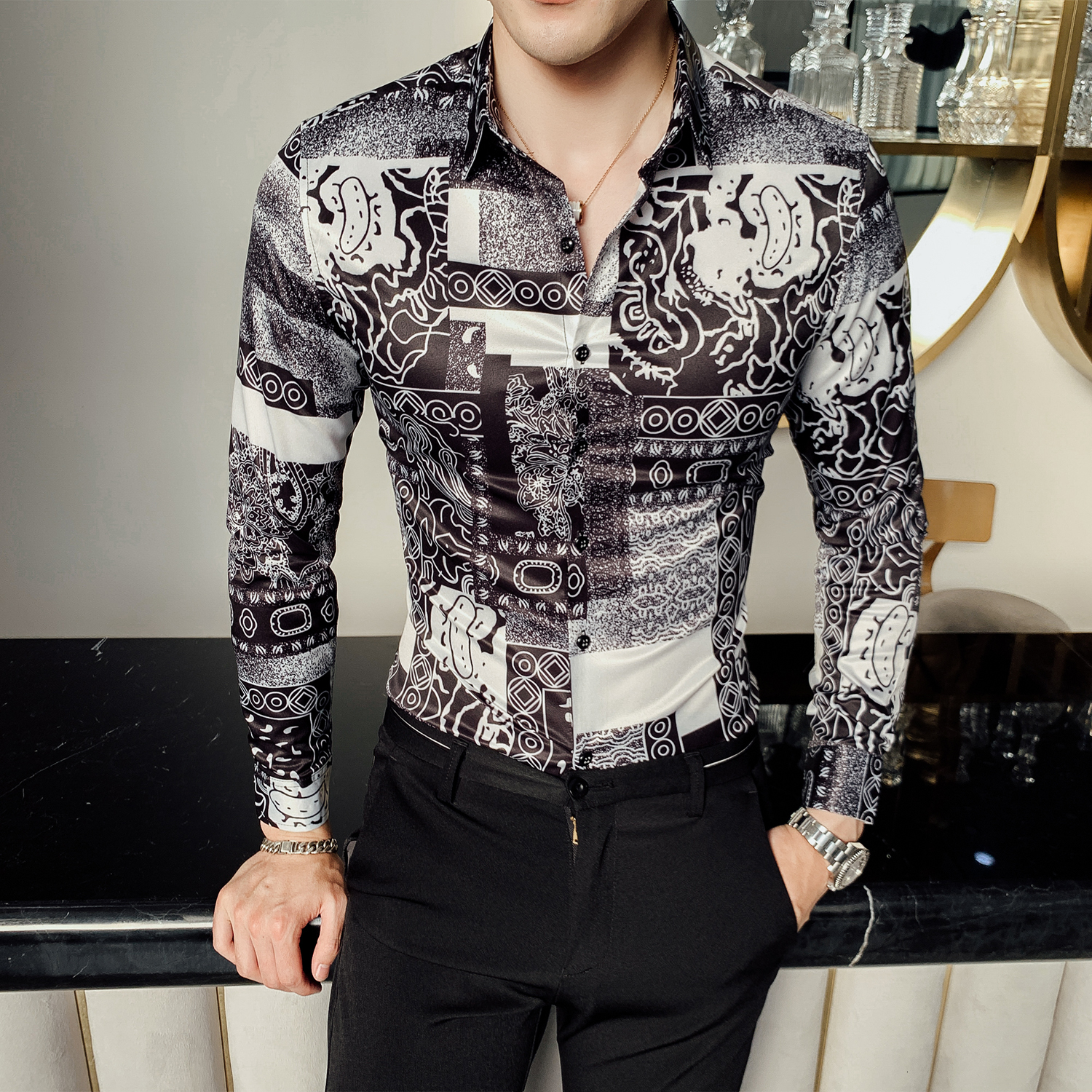 Fashion 2019 Autumn British Style Floral Shirt Men Long Sleeve Tuxedo Shirt Night Club Party Wear Streetwear Mens Casual Shirts