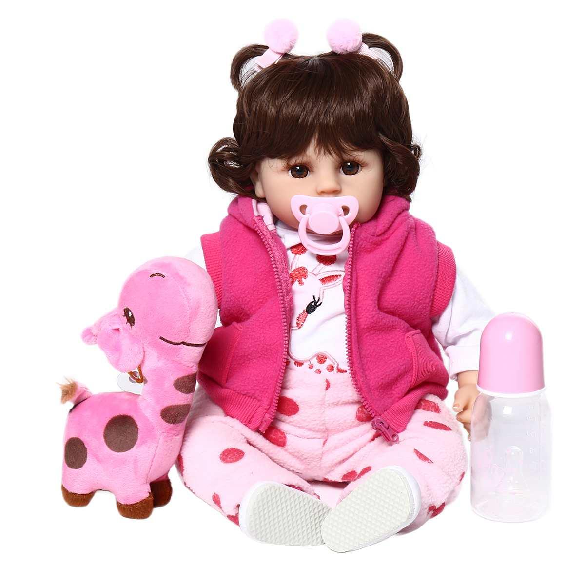 42cm offre spéciale Reborn bébé poupée jouet tissu corps en peluche réaliste bébé poupée avec girafe bambin anniversaire cadeaux de noël