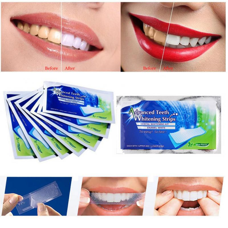 1bag=2pcs Professional Advanced Teeth Whitening Strips Bleaching & Whitening Strips Stain Removal Oral Hygiene Care TSLM2(China)