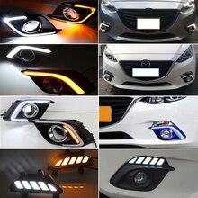 2 قطعة DRL لمازدا 3 Mazda3 Axela 2014 2015 2016 LED النهار تشغيل أضواء النهار الضباب مصباح مع بدوره مصباح إشارة