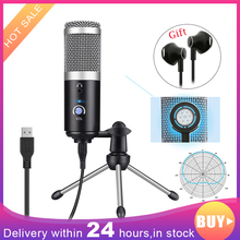 цена на Professional Microphone Condenser for Computer PC USB Plug +Tripod Stand YouTube Broadcasting Recording Microfone Karaoke Mic
