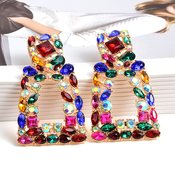 Wholesale ZA New Long Metal Hollowed-out Hanging Colorful Crystals Dangle Drop Earrings Fine Jewelry Accessories For Women za new bird shaped colorful rhinestone metal long dangle drop earrings fine crystals chain tassels jewelry accessories for women