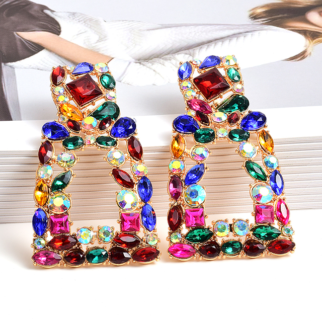 Wholesale ZA New Long Metal Hollowed out Hanging Colorful Crystals Dangle Drop Earrings Fine Jewelry Accessories.jpg 640x640 - Wholesale ZA New Long Metal Hollowed-out Hanging Colorful Crystals Dangle Drop Earrings Fine Jewelry Accessories For Women