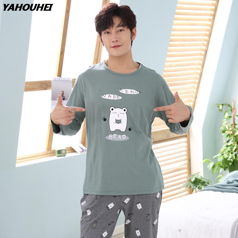High Quality Long Sleeve Homewear Cotton Pajamas Sets For Men 2018 Autumn Winter O-neck Cartoon Bear Pyjamas Male Lounge Clothes