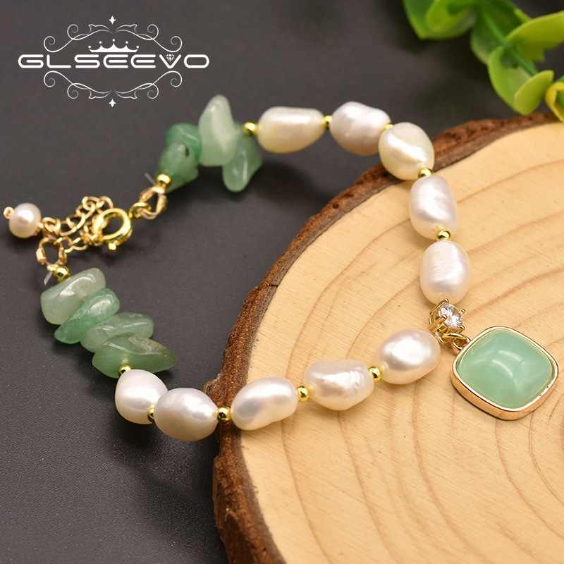 GLSEEVO Natural Baroque White Pearl Bracelet For Women Girl Lovers' Engagement Birthday Luxury Jewelry Women Accessories GB0171