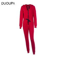 DUOUPA 2019 Casual Autumn And Winter Suit Fashion Long-sleeved Knit Hooded Cardigan Sports Jumpsuit Female Sweater