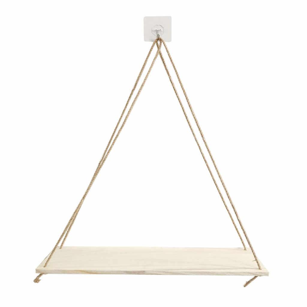 Premium Battente In Legno Corda Appesa A Parete Galleggiante Ripiani Pianta Vaso di Fiori al coperto decorazione esterna di disegno semplice # j3s
