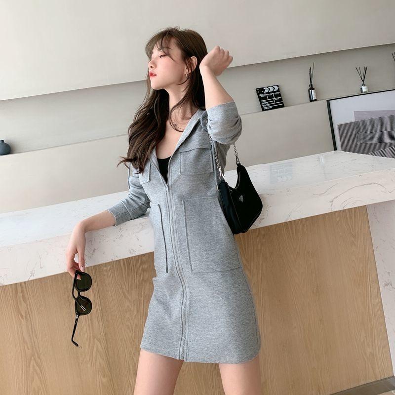 Women's casual hooded dress 2021 Korean version of the new long sleeved high waist slim slimming waist dress ins fashion trend 5