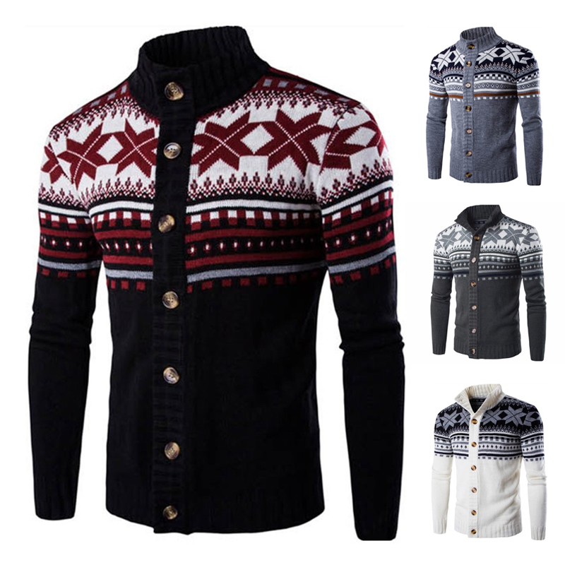 Winter Men's Sweater Cardigan Printed Warm Vintage Long Sleeve Streetwear Button Knitted Sweaters Christmas Men Pullovers J857