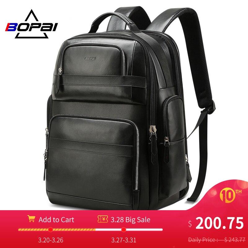 Bopai luxo genuíno couro mochila para homens mulheres viagem preto bagpack camada superior de couro vaca negócios mochilas portátil