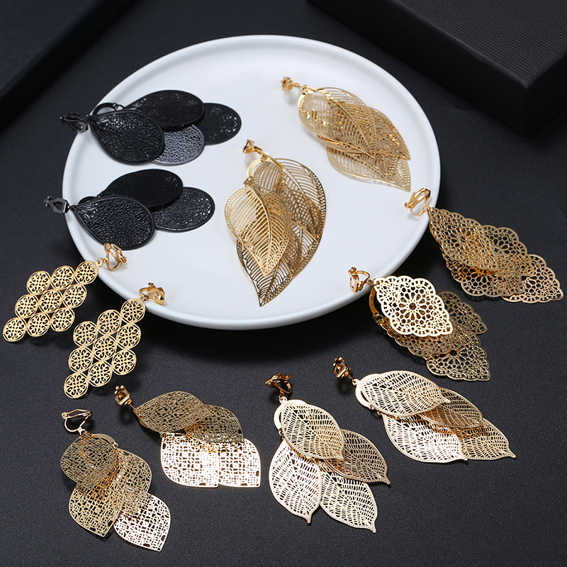 New Arrival Hyperbole Multilayered Big Leaves Clip On Earrings Non Pierced For Women Party Wedding Elegant Ear Clips Accessories