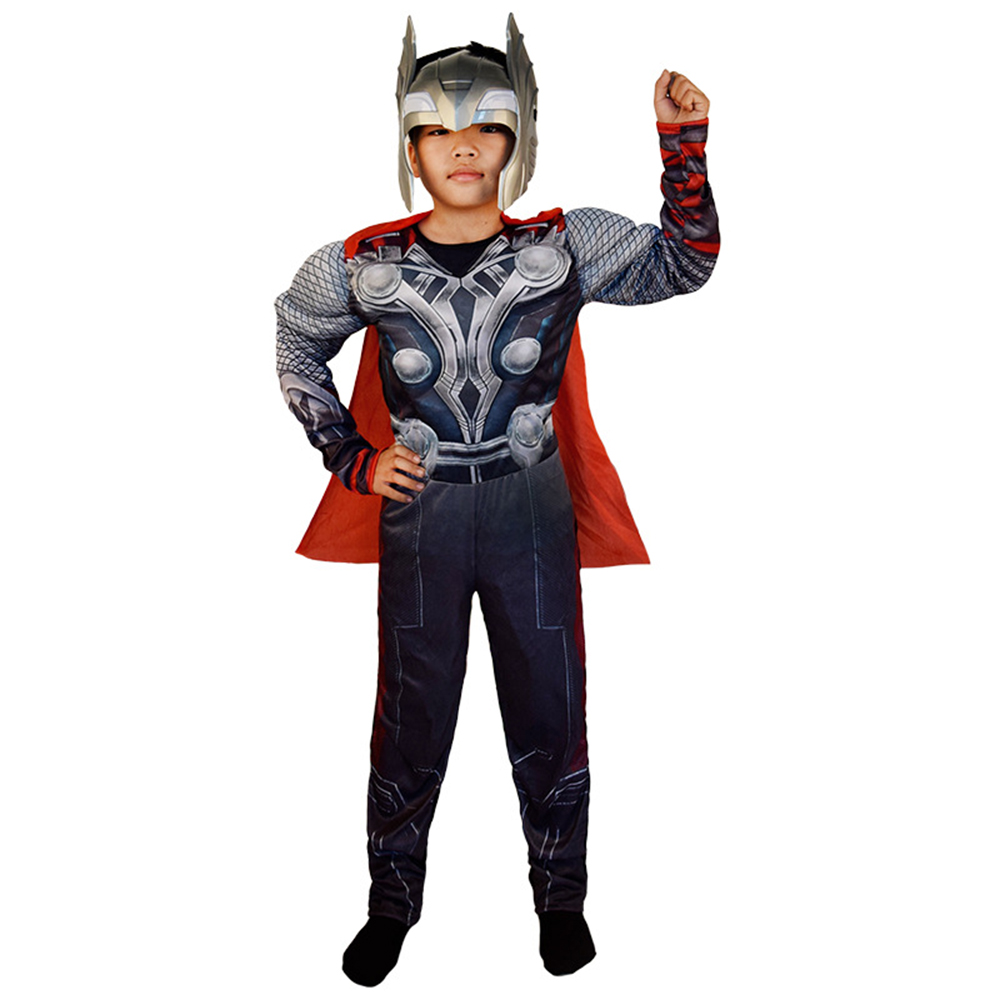 Halloween muscular thor traje anime capa muscular das crianças thor toss cape role playing com máscara vento preto cosplay