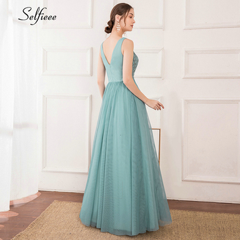 Elegant Women Dress A-Line Beaded Double V-Neck Sleeveless Tulle Maxi Dress Sexy Embroidered Long Party Dress Vestidos 2020 3