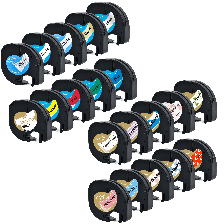 20 peças para 12267 91201 91202 91203 91204 91205 91207 91208 fabricação de etiqueta para LT-100H 12mm dymo letrat