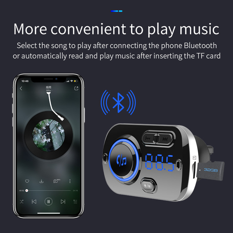 SRUIK Car FM Transmitter Bluetooth 5 0 Fm Modulator USB Car Charger Kit Hands Free Calling Music Player Night Vision LED Light in FM Transmitters from Automobiles Motorcycles