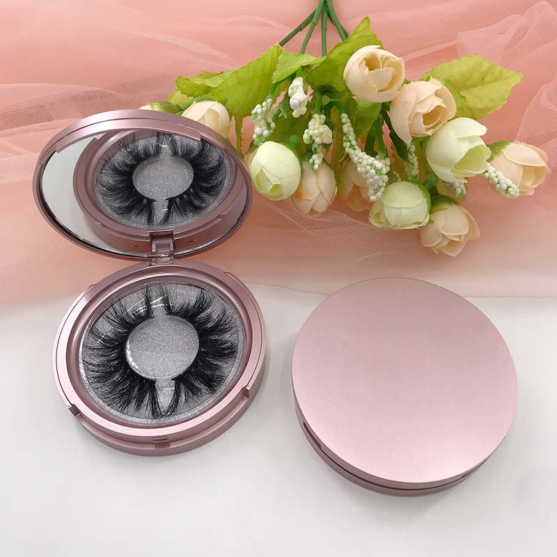 Espelho lash caso natural regular c lios rosa ouro redondo lash box 5d c lios