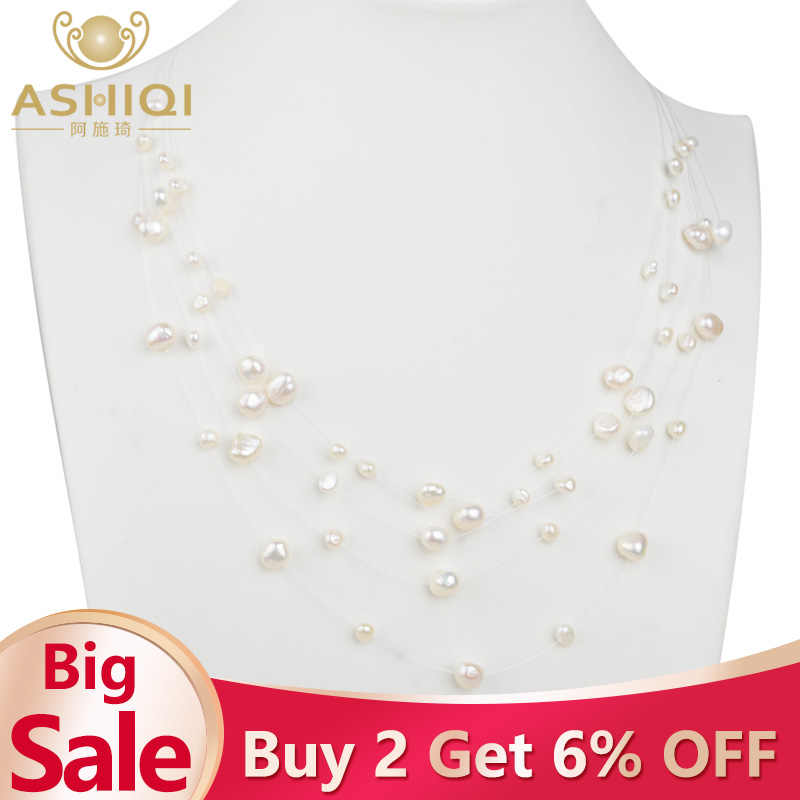 ASHIQI Natural Freshwater Baroque Pearl Layered Necklace Women 4-8mm 5 Rows Bohemia Handmade Jewelry Fashion