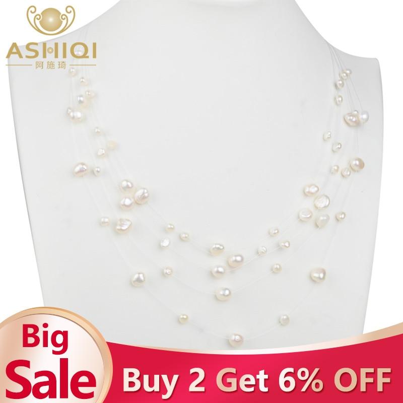 ASHIQI Natural Freshwater Baroque Pearl Layered Necklace Women 4-8mm 5 Rows Bohemia Handmade Jewelry Fashion