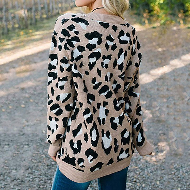 Leopard Print Sweaters Women Tops Autumn Knitwear Long Sleeve Pullovers Fashion White Winter Knitted Sweater Girl 2019 Hot Sale in Pullovers from Women 39 s Clothing