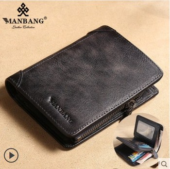 HOT Genuine Leather Men Wallet Small Mini Card Holder Male Wallet Pocket Retro purse High Quality 7