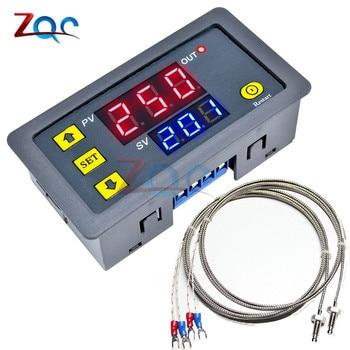 AC 220V DC 12V 24V K type thermocouple digital temperature controller Meter -60~500 degree M6 Probe Sensor Embedded Thermostat