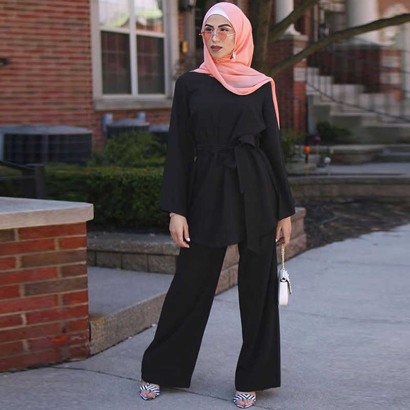 Aid Mubarek Dubai Abaya Hijab Moslim Jurk Vrouwen Kaftan Turkse Islam Kleding Ramadan Eid Gewaad Femme Ete Musulmane 2 Stuks set