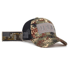 new Tactical Camouflage Baseball Caps Men Summer Mesh Military Army Caps Constructed Trucker Cap Hats With USA Flag Patches(China)